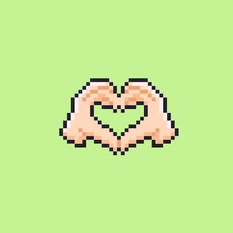 Знак любви в стиле пиксель арт