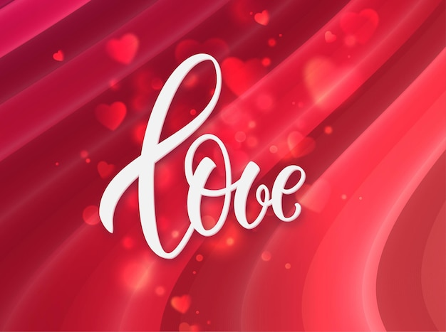 Love handwritten lettering greeting card for saint valentine's day