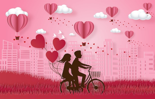 Love and happy valentine's day banners, paper art style vector premium