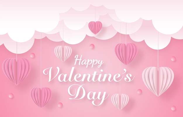 Love and happy valentine's day banners, paper art style
