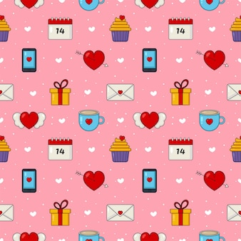 Love and happy valentine's day set seamless pattern isolated on pink background.