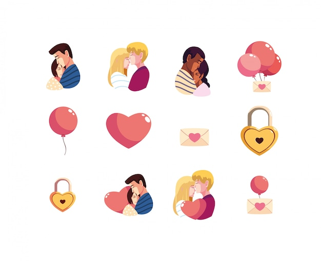 Love and happy valentines day icon set
