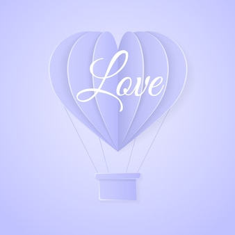 Love. happy valentines day retro invitation card template with origami paper hot air balloon in heart shape.