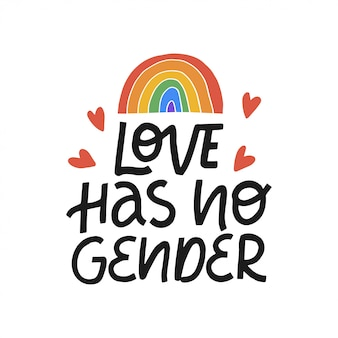 Love has no gender hand drawn lettering phrase. pride day. lgbt community. design template for poster, banner, web. illustration isolated on white background.