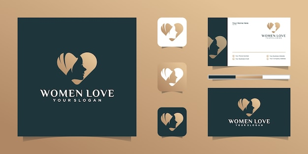 Love heart and beauty woman logo and business card