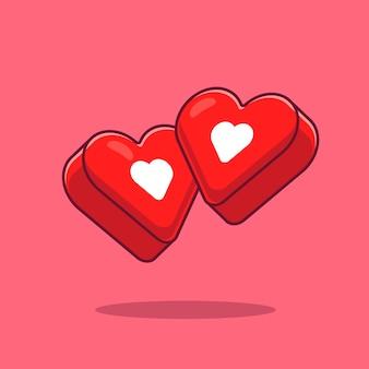 Любовь сердца мультфильм значок иллюстрации. символ объекта значок концепции изолированы. плоский мультяшном стиле