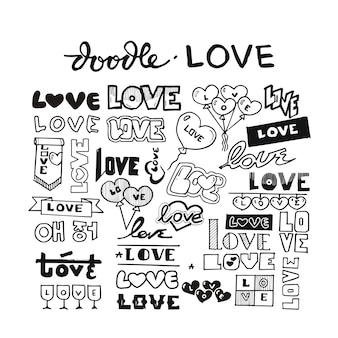 Love heart doodle hand drawn