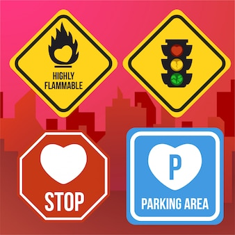 Love heart flammable parking area stop traffic jam sign age