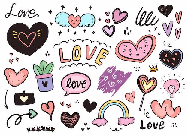 Love heart girly fashion sticker outline drawing.