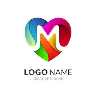 Любовь / сердце + буква м логотип концепция
