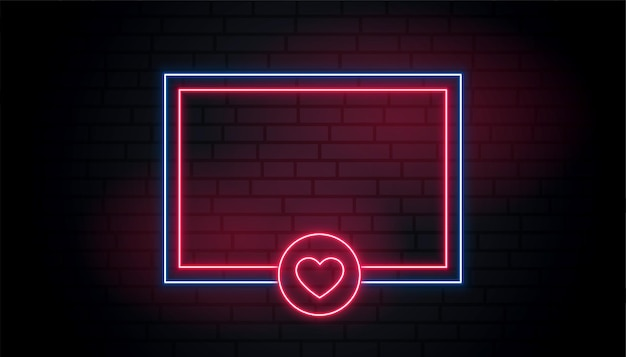 Love heart neon glowing frame with text space