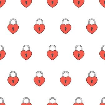 Любовь сердца padlock бесшовные модели. иллюстрация темы замка