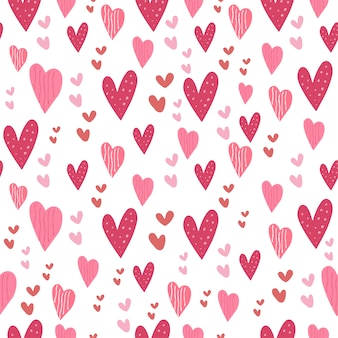Love heart pink seamless pattern cute collection