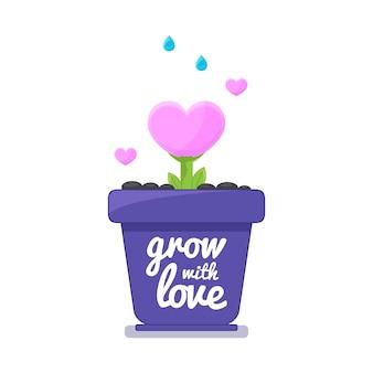 Любовь сердце дерево растет в горшке.