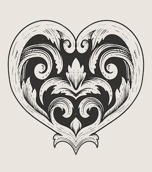 Любовное сердце с гравировкой в стиле орнамента