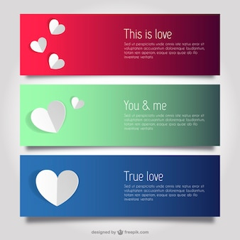 Love and hearts banner templates