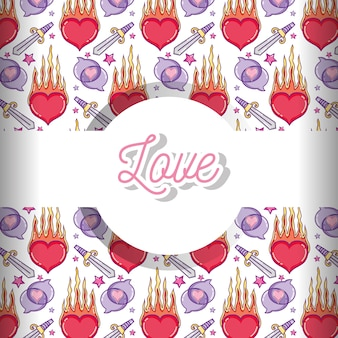 Love and hearts pattern background