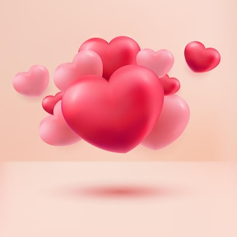 Love hearts red and pink 3d realistic on pastel background