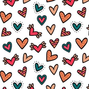 愛の心のシームレスパターン