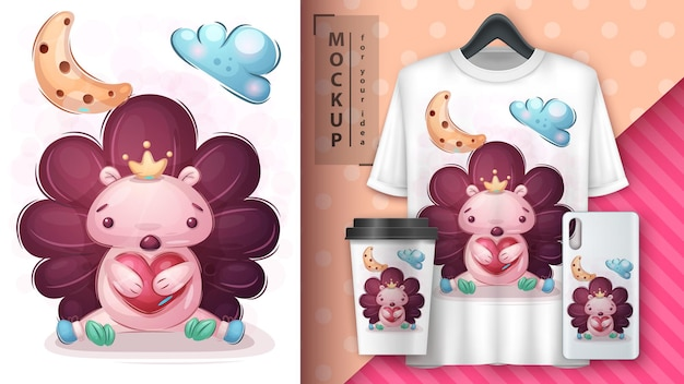 Love hedgehog poster and merchandising