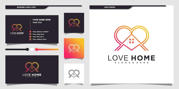 Love home logo design with modern line style and business card design premium vector