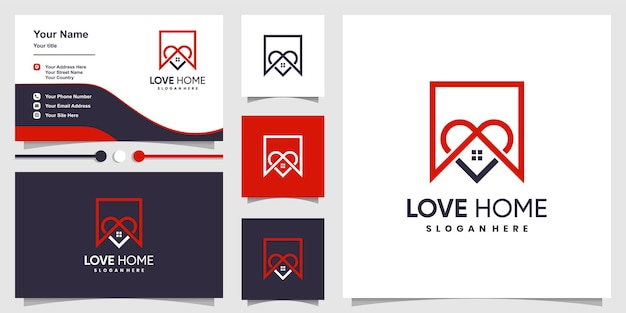 Love home logo with modern concept and business card design template premium vector
