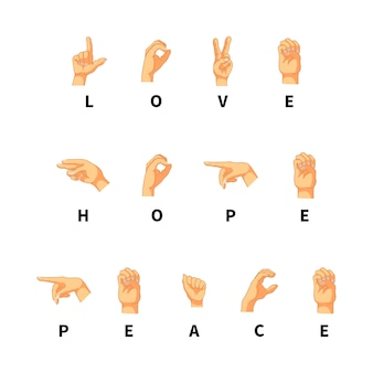 Love, hope and peace words on hand language