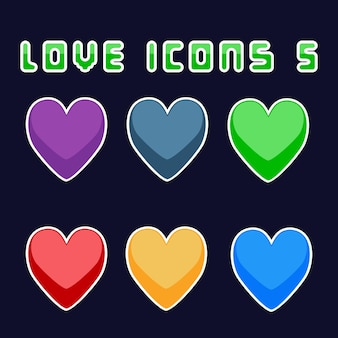 Love icons 5 game asset