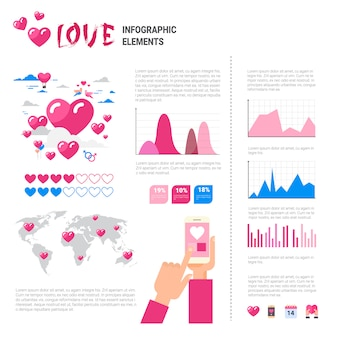 Love icons and elements over infographic template background, valentine day concept
