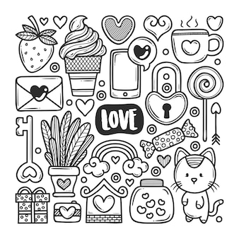 Love icons hand drawn doodle coloring