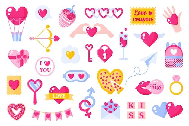 Набор иконок любви на день святого валентина или свадьбу. воздушный шар, стрелка, ключ, пицца, поцелуй, жевательная резинка, подарок, клубника, самолет и т. д. плоский дизайн, изолированные на белом фоне.