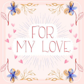 Love illustration with floral designs, sunburst, vintage text and hearts