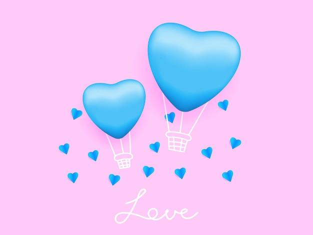 空中の愛、ピンクのイラストとハート型の風船