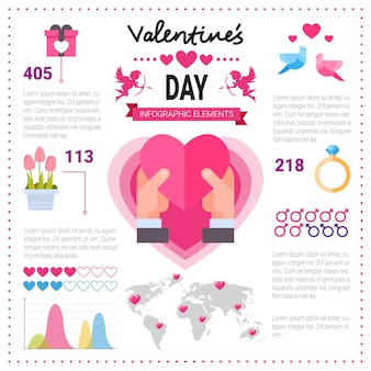Love infographic banner with copy space. set of template elements icons over pink background, valentine day concept