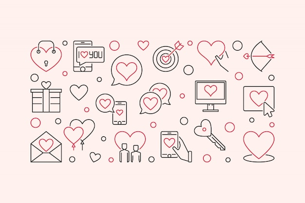 Love and interpersonal relationship vector outline banner