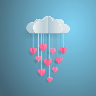 Love invitation card valentines day balloon cloud with rain from hearts paper cut