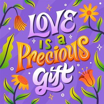 愛は貴重な贈り物のレタリングです