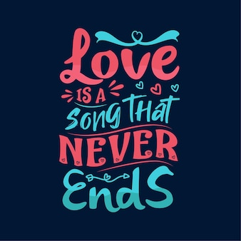 사랑은 타이포그래피 레터링 디자인이 끝나지 않는 노래입니다