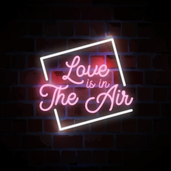 Love is in the air lettering typography neon sign illustration
