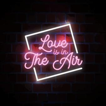 Любовь витает в воздухе, надпись типографии, неоновая вывеска, иллюстрация