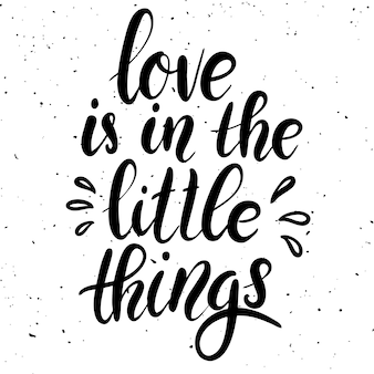 Love is in the little things. hand drawn lettering phrase on white background.  element for poster, greeting card.  illustration
