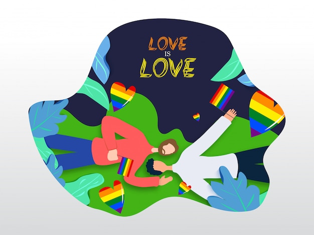 Love is love concept for lgbtq community with gay couple laying down and holding rainbow color freedom flag. nature background.