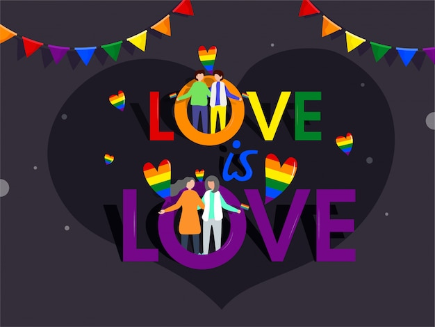 Love is love concept with illustration of gay and lesbian couples and rainbow color bunting flags symbol of freedom.