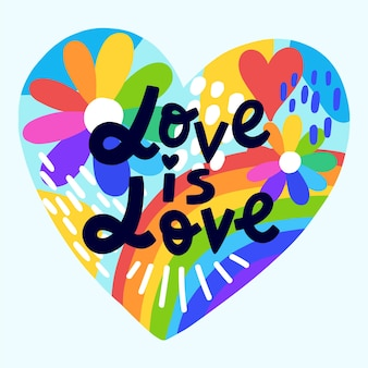 Love is love lettering pride day