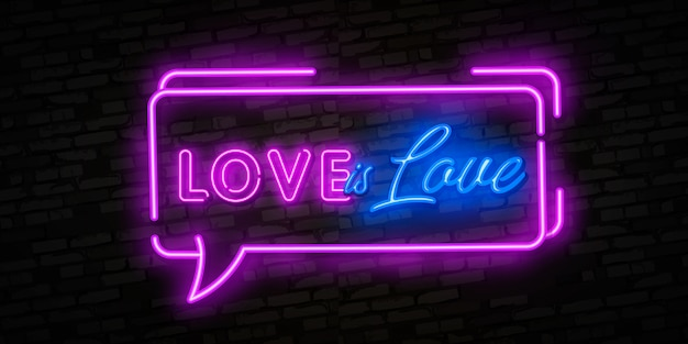 Love is love neon text of love