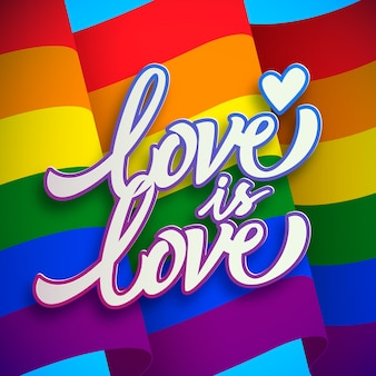 Love is love pride day lettering