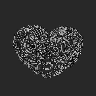 사랑 keto 손으로 그린 배너입니다. 케톤 생성 식품 저탄수화물 및 단백질, 고지방. 팔레오 다이어트. 낙서 스타일의 건강한 식생활. 칠판에 분필. 라인 아트.