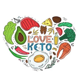 사랑 케토 - 손으로 그린 비문. 케토제닉 다이어트 심장 모양의 배너는 낙서 스타일입니다. 저탄수화물 다이어트 팔레오 영양, 식사 단백질 및 지방