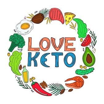 사랑 케토 - 손으로 그린 비문. 케토제닉 다이어트 라운드 프레임은 낙서 스타일입니다. 저탄수화물 다이어트. 팔레오 영양, 식사 단백질 및 지방