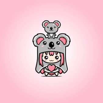 Love koala mascot vector design